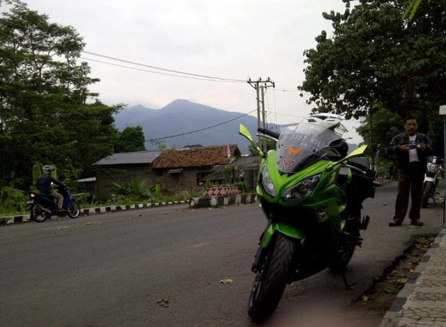 My ninja 650 with Mt. Rajabasa in the background
