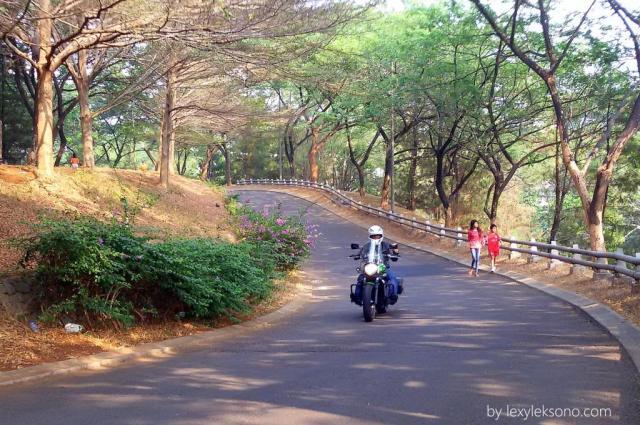 menikmati riding dan rindangnya pepohonan