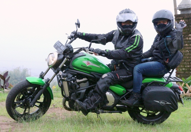 My wife and I had fun riding my green Vulcan S
