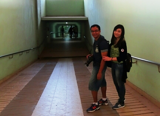 me and my daughter at Cu Chi tunnels main entrance