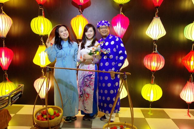 Me and my family wearing Vietnamese traditional cloth